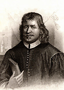John Bunyan (1628-1688) English Puritan preacher.  Author of 'The Pilgrim's Progress' (London, 1678). Engraving, 1832.