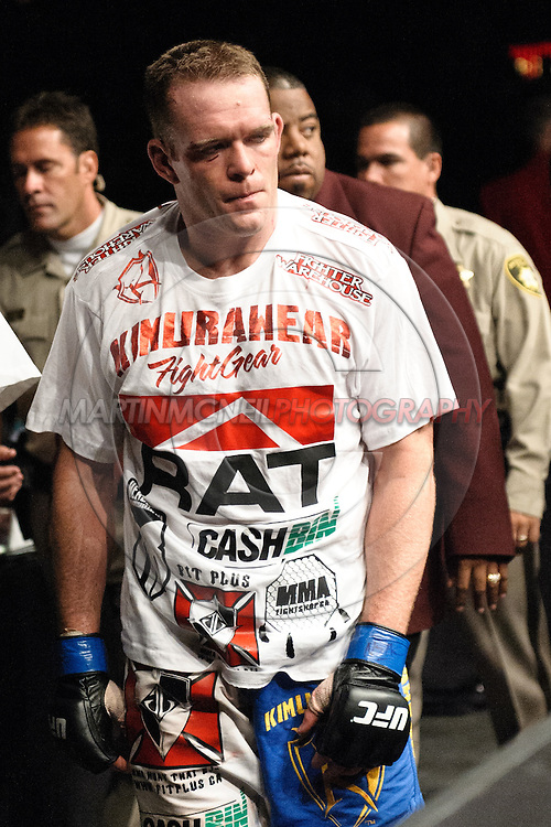 "LAS VEGAS, NEVADA. JULY 11, 2009: TJ Grant is visibly dejected after losing his fight at ""UFC 100: Making History"" inside the Mandalay Bay Events Center in Las Vegas, Nevada."