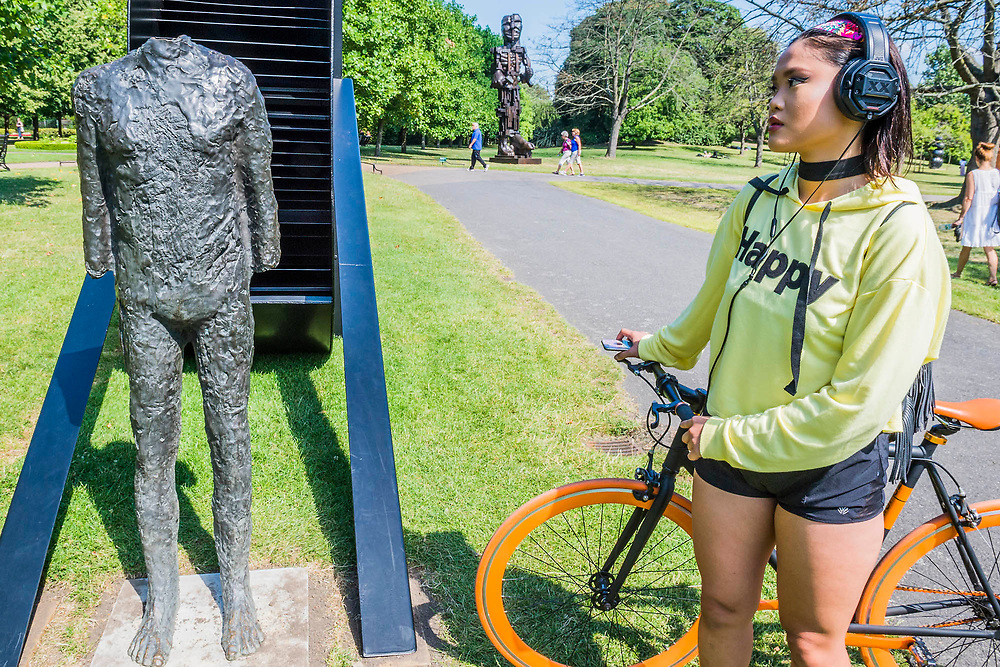 Magdalena Abakanowicz, Standing Figure with Wheel (1990) - The Frieze Sculpture Park 2017 comprises large-scale works, set in the English Gardens . The installations will remain on view until 8 Oct 2017.