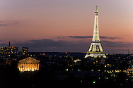 France. Paris. Elevated view on Paris cityscape and the Eiffel tower. Paris, rooftops , tuleries garden and eiffel tower,  view from  the hotel Meurice