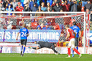 Josh Lillis penalty save during the EFL Sky Bet League 1 match between Charlton Athletic and Rochdale at The Valley, London, England on 1 October 2016. Photo by Daniel Youngs.