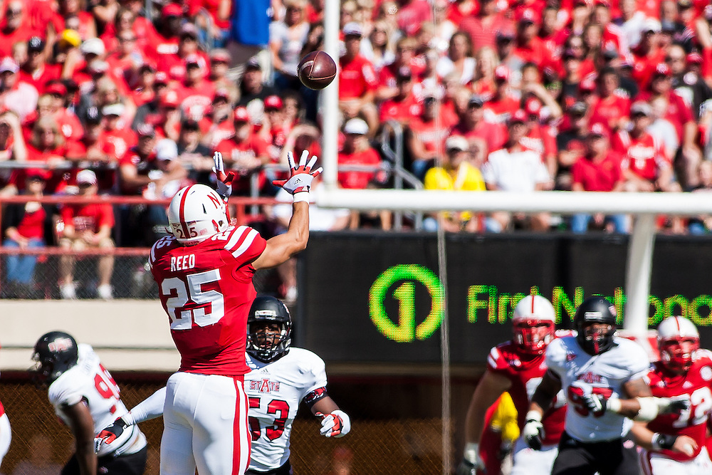 September 15, 2012: Kyler Reed #25 of the Nebraska Cornhuskers makes a catch against Arkansas State Red Wolves at Memorial Stadium in Lincoln, Nebraska. Nebraska defeated Arkansas State 42 to 13. .Photo by John S. Peterson
