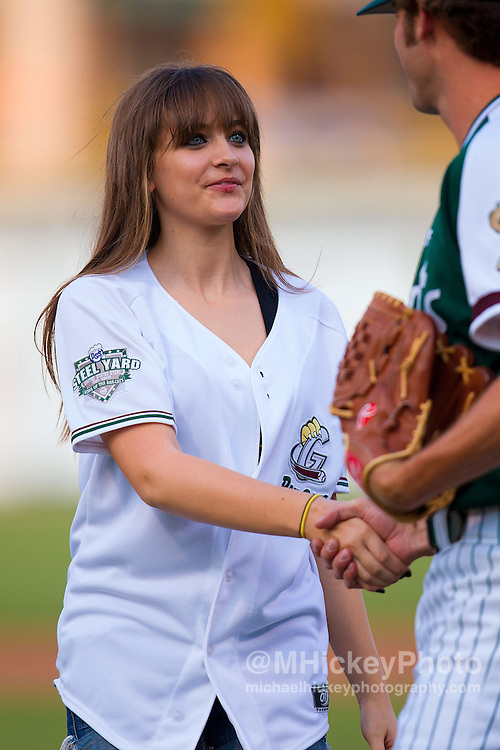 Paris Jackson throws out the first pitch at Gary Railcats baseball game at the Steelyard in Gary, Indiana.