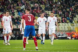 November 15, 2018 - Gdansk, Pomorze, Poland - Robert Lewandowski (9) Jan Bednarek (5) during the international friendly soccer match between Poland and Czech Republic at Energa Stadium in Gdansk, Poland on 15 November 2018  (Credit Image: © Mateusz Wlodarczyk/NurPhoto via ZUMA Press)