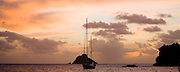 Amneris at anchor at sunset
