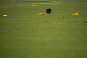 Flags and referee hats sit on the field after a scrum between the San Francisco 49ers and the Arizona Cardinals at Levi's Stadium in Santa Clara, Calif., on November 5, 2017. (Stan Olszewski/Special to S.F. Examiner)