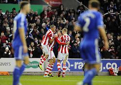 Stoke City's Peter Crouch celebrates his goal with team mates - Photo mandatory by-line: Joe Meredith/JMP - Tel: Mobile: 07966 386802 07/12/2013 - SPORT - Football - Stoke-On-Trent - Britannia Stadium - Stoke City v Chelsea - Barclays Premier League
