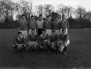23/02/1957<br /> 02/22/1957<br /> 23 February 1957 <br /> Soccer: Queens University v U.C.C., FInal of the Collingwood Cup at Belfield, Dublin. The Queen's University team.