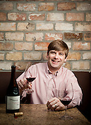 Robert Chapman, Vice President of TTR Wine Brokers, drinks a Two Hands Shiraz from southern Australia.