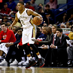 Mar 18, 2016; New Orleans, LA, USA; New Orleans Pelicans guard Tim Frazier (2) against the Portland Trail Blazers during the second quarter of a game at the Smoothie King Center. Mandatory Credit: Derick E. Hingle-USA TODAY Sports