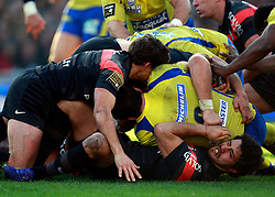 Yann David of Toulouse is squashed at the bottom of the ruck. Stade Toulousain v ASM Clermont Auvergne, Top 14, Stade Municipal, Toulouse, France, 1st December 2012.
