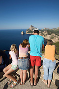 Tourists at Cap de Formentor, Mirador Es Colomer.