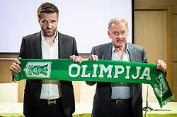 Milan Mandaric (R), president of NK Olimpija presenting Igor Biscan, new head coach of NK Olimpija at press conference, on June 2, 2017 in Austria Trend Hotel, Ljubljana, Slovenia. Photo by Sasa Pahic Szabo / Sportida