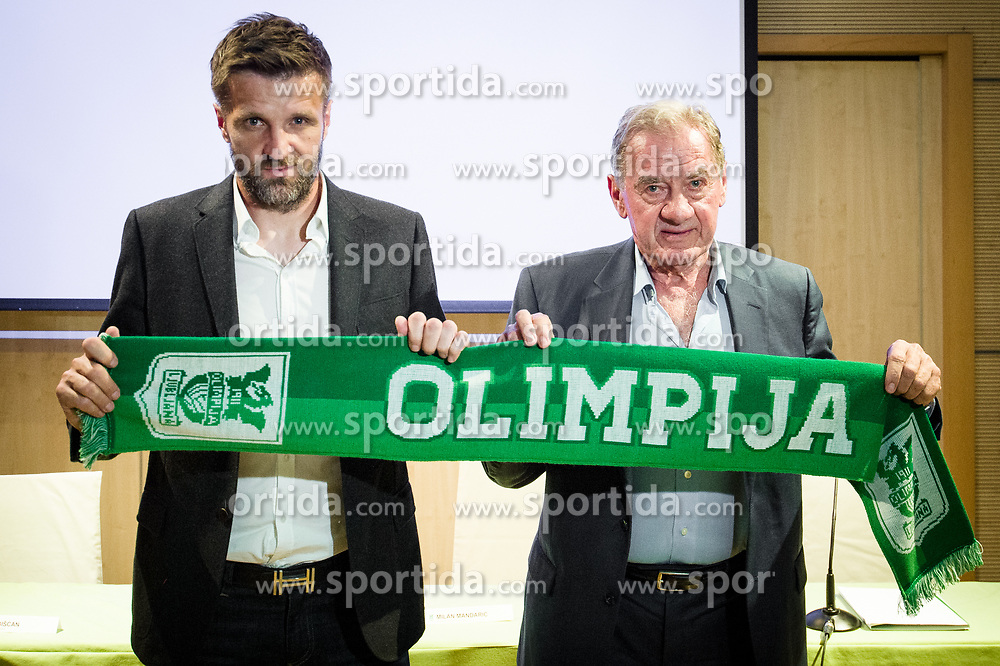 Milan Mandaric (R), president of NK Olimpija presenting Igor Biscan, new head coach of NK Olimpija at press conference, on June 2, 2017 in Austria Trend Hotel, Ljubljana, Slovenia. Photo by Sasa Pahic Szabo / Sportida