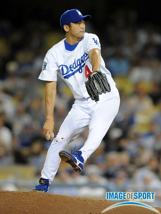 June 2, 2008; Los Angeles, CA, USA; Los Angeles Dodgers reliever Takashi Saito (44) pitches in the ninth inning of 5-4 loss to the Chicago Cubs at Dodger Stadium.
