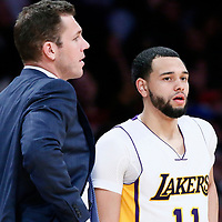 26 March 2016: Los Angeles Lakers guard Tyler Ennis (11) is seen next to Los Angeles Lakers head coach Luke Walton during the Portland Trail Blazers 97-81 victory over the Los Angeles Lakers, at the Staples Center, Los Angeles, California, USA.