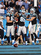 Carolina Panthers tight end Brandon Williams (86) celebrates with teammates after catching a fourth quarter touchdown pass subsequently reviewed and reversed, the score would have cut the New Orleans Saints lead to 21-14,  during the NFL week 9 regular season football game against the New Orleans Saints on Thursday, Oct. 30, 2014 in Charlotte, N.C. The Saints won the game 28-10. ©Paul Anthony Spinelli
