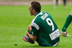 Agim Ibraimi of Olimpija injured at 34th Round of 1st Slovenian Football League match between NK Olimpija and NK Luka Koper, on May 5, 2010, in ZAK, Ljubljana, Slovenia. Olimpija defeated Koper 3-1. (Photo by Vid Ponikvar / Sportida)