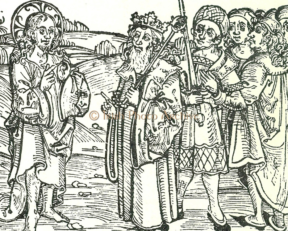 The Risen Christ appearing to the king of Spain (Ferdinand II of Aragon and Ferdinand V of Castile 1452-1516). Woodcut from 1497 pamphlet containing a German translation of Columbus's letter to Luis de Santangel,  the Spanish royal Treasurer, announcig his discovery of America.