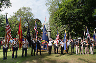 Middletown, New York - Color guards line up at Thrall Park during the Middletown-Town of Wallkill Memorial Day parade and ceremonies on May 25, 2015.