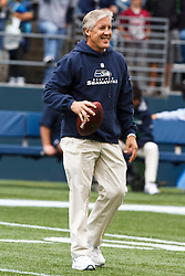 September 26, 2010; Seattle, WA, USA;  Seattle Seahawks head coach Pete Carroll during warm ups before the game against the San Diego Chargers at Qwest Field.