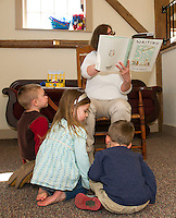 "Children's Librarian Pam Jansury reads ""Waiting"" during Wednesday morning Story Time at the Gilmanton Year Round Library.  (Karen Bobotas/for the Laconia Daily Sun)"