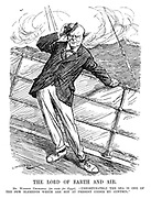 """The Lord of Earth and Air. Mr Winston Churchill (en route for Egypt). """"Unfortunately the sea is one of the few elements which are not at present under my control."""" (Churchill looks sea sick in stormy weather on board a ship in the InterWar era)"""