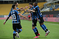 Inter's Italian defender Alessandro Bastoni celebrates with team mates after scoring a late header to give the side a 2-1 lead during the Serie A match at Stadio Ennio Tardini, Parma. Picture date: 28th June 2020. Picture credit should read: Jonathan Moscrop/Sportimage