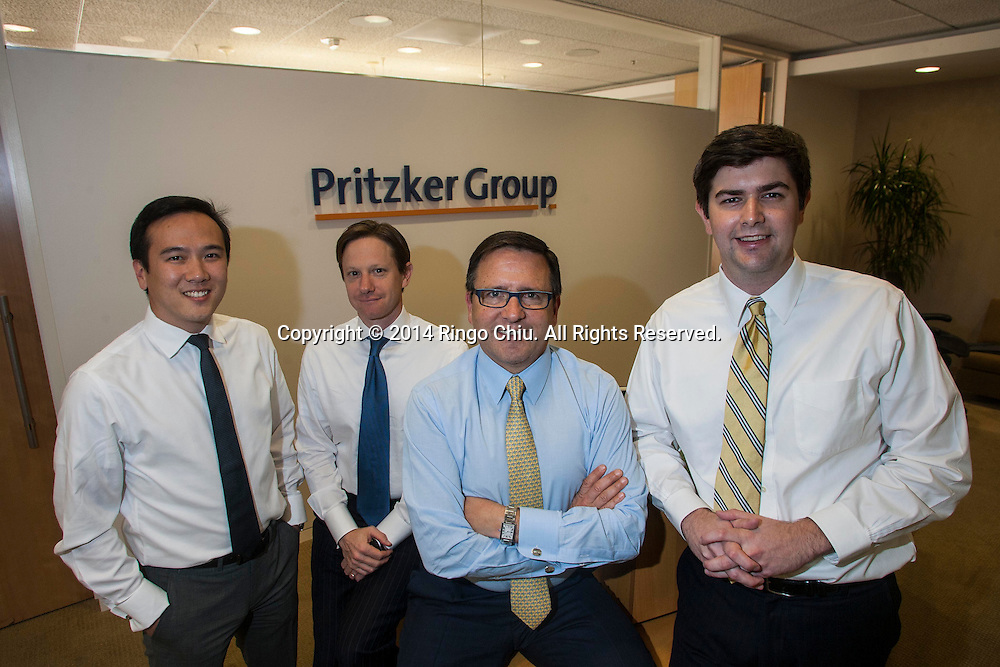 From left to right, Ceron Rhee, Michael Dal Bello, Tony Pritzker, and Evan Earley of Pritzker Group Private Capital.<br /> (Photo by Ringo Chiu/PHOTOFORMULA.com)