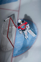 KELOWNA, CANADA - NOVEMBER 3:   Jackson Whistle #1 of the Kelowna Rockets stands in net against the Prince George Cougars at the Kelowna Rockets on November 3, 2012 at Prospera Place in Kelowna, British Columbia, Canada (Photo by Marissa Baecker/Shoot the Breeze) *** Local Caption ***