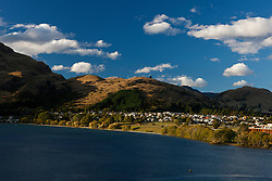 View of hills surrounding Lake Wakatipu, near Queenstown, Otago District, South Island, New Zealand