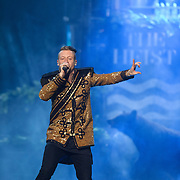 "WASHINGTON, DC - November 18, 2013 - Macklemore (left) and Ryan Lewis (right) perform at the Verizon Center in Washington, D.C. The duo is still riding high off of their 2012 album, The Heist, which contains the #1 singles ""Thrift Shop"" and ""Can't Hold Us."" (Photo by Kyle Gustafson / For The Washington Post)"