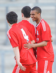 WARRINGTON, ENGLAND - Wednesday, April 29, 2009: Liverpool's David Ngog celebrates scoring the second goal against Newcastle United during the FA Premiership Reserves League (Northern Division) match at the Halliwell Jones Stadium. (Photo by David Rawcliffe/Propaganda)