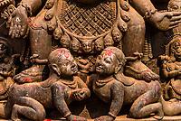 Stone carvings outside the National Art Gallery, Durbar Square, Bhaktapur, Kathmandu Valley, Nepal.