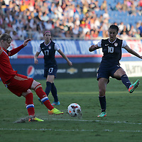Russia defender Ksenia Tsybutovich (19) kicks the ball as U.S. midfielder Carli Lloyd (10) defends during an international friendly soccer match between the United States Women's National soccer team and the Russia National soccer team at FAU Stadium on Saturday, February 8, in Boca Raton, Florida. (AP Photo/Alex Menendez)