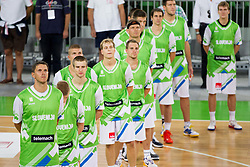 Bostjan Nachbar and other players of Slovenia listening to the national anthem during basketball match between National teams of Slovenia and Bosna and Herzegovina in day 1 of Adecco cup, on August  3, 2012 in Arena Stozice, Ljubljana, Slovenia. (Photo by Vid Ponikvar / Sportida.com)