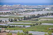 Israel, Coastal plains as seen from the Carmel mountain agricultural greenhouses