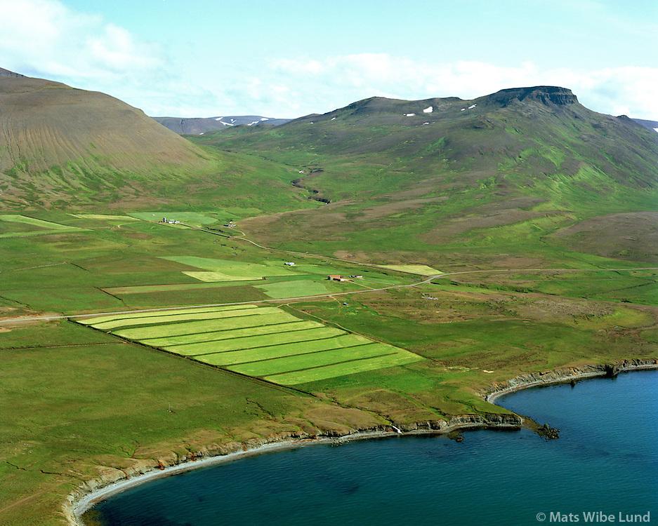 Neðri-Harrastaðir, Brandaskarð í bakgrunni, séð til suðausturs, Skagahreppur / Nedri-Harrastadir, Brandaskard in background, viewing southeast, Skagahreppur.