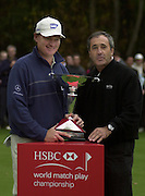 19/10/2003 - Photo  Peter Spurrier.2003 HSBC World Match Play Championship - Wentworth. Sunday - Final Day- left. Ernie Els and Seve Ballesteros, Spurrier/ Intersport Images]
