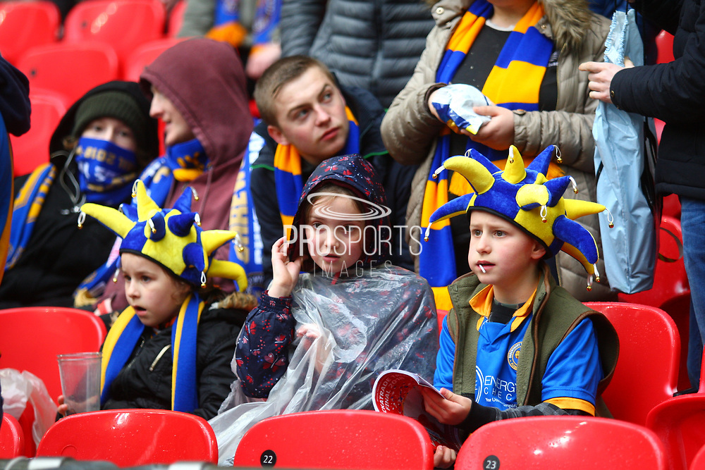 Shrewsbury fans during the EFL Trophy Final match between Lincoln City and Shrewsbury Town at Wembley Stadium, London, England on 8 April 2018. Picture by John Potts.