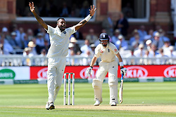 India's Hardik Pandya celebrates taking the wicket of England's Ollie Pope lbw during day three of the Specsavers Second Test match at Lord's, London.