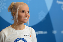 February 8, 2018 - Pyeonchang, Republic of Korea - MARI LAUKKANEN of the Finnish biathlon team at a press conference prior to the start of the 2018 Olympic Games (Credit Image: © Christopher Levy via ZUMA Wire)