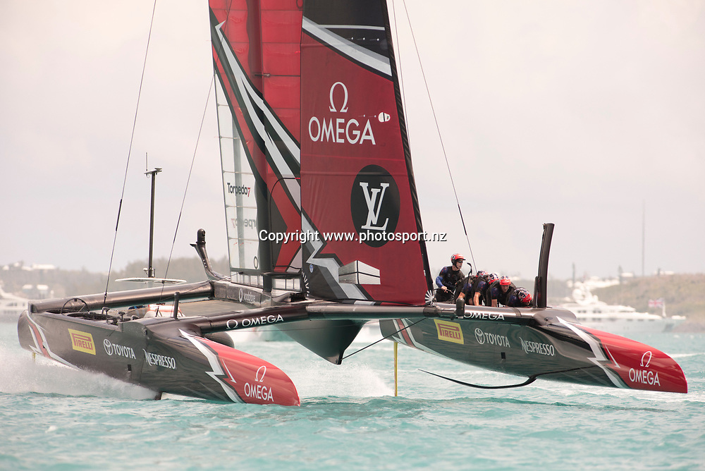 Emirates Team New Zealand wins race 14 against Artemis Racing (SWE). Day three of the America's Cup Qualifiers, Bermuda 29/5/2017 . Copyright Image: Chris Cameron / www.photosport.nz