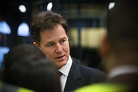 The deputy Prime Minister Rt Hon Nick Clegg visiting National Express West Midland in Birmingham. Picture by Shaun Fellows / Shine Pix