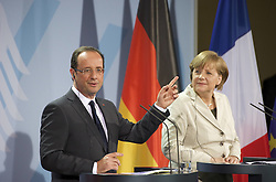 Bildnummer: 57992344..Chancellor Angela Merkel and Franois Grard Georges Nicolas Hollande during a press conference French Presidents in Federal Chancellery in Berlin Germany, Tuesday May 15, 2012.Sven Simon/imago/ i-Images