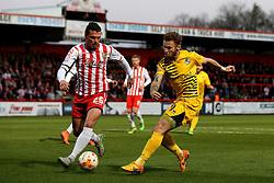 Matt Taylor of Bristol Rovers has his shot blocked by Ron Henry of Stevenage - Mandatory by-line: Robbie Stephenson/JMP - 19/04/2016 - FOOTBALL - Lamex Stadium - Stevenage, England - Stevenage v Bristol Rovers - Sky Bet League Two