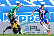 Reece Wabara during the Sky Bet League 1 match between Wigan Athletic and Rochdale at the DW Stadium, Wigan, England on 28 March 2016. Photo by Daniel Youngs.