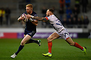 Connacht fullback Darragh Leader breaks past Sale Sharks wing Byron McGuigan during a European Challenge Cup Quarter Final match in Eccles, Greater Manchester, United Kingdom, Friday, March 29, 2019.  (Steve Flynn/Image of Sport)