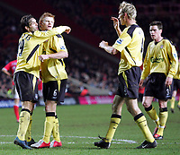 Fotball<br /> England 2004/2005<br /> Foto: SBI/Digitalsport<br /> NORWAY ONLY<br /> <br /> Charlton Athletic v Liverpool<br /> The Barclays Premiership. <br /> The Valley.<br /> 01/02/05<br /> Liverpool's John Arne Riise celebrates his goal with other goal scorer Fernando Morientes