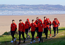 DUBLIN, REPUBLIC OF IRELAND - Friday, March 24, 2017: Wales players during a pre-match team walk around Portmarnock Hotel And Golf Links ahead of the 2018 FIFA World Cup Qualifying Group D match against Republic of Ireland. Neil Taylor, Hal Robson-Kanu, Joe Ledley, Chris Gunter, Aaron Ramsey. (Pic by David Rawcliffe/Propaganda)